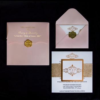 Simple design elegant rose gold stamping simple wedding invitation simple design elegant rose gold stamping simple wedding invitation card with rsvp card stopboris Choice Image