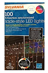 Sylvania Christmas Lights 100 Icicle-Style Led Lights 8-Function Color Changing Warm White Multi Color Connectable (1 box (100 count))