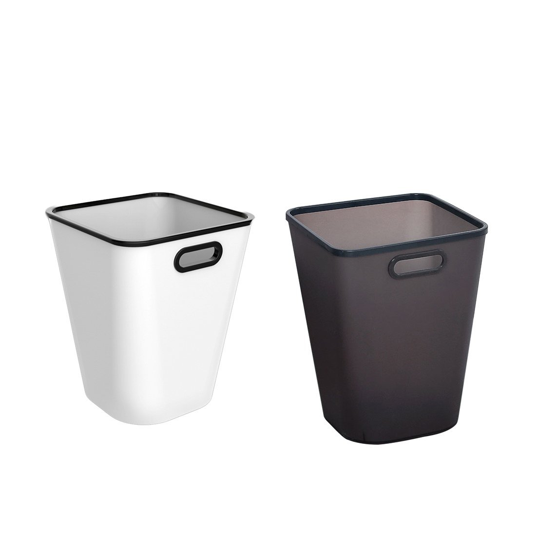 XSHION Trash Can Set of 2, Plastic Waste Paper Basket for Office/Recycle Bins for Home Wastebasket 4 Gallon (White,Black)