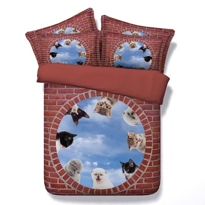 Cute Bedding Set Cats Duvet Bed Sheet California King Size