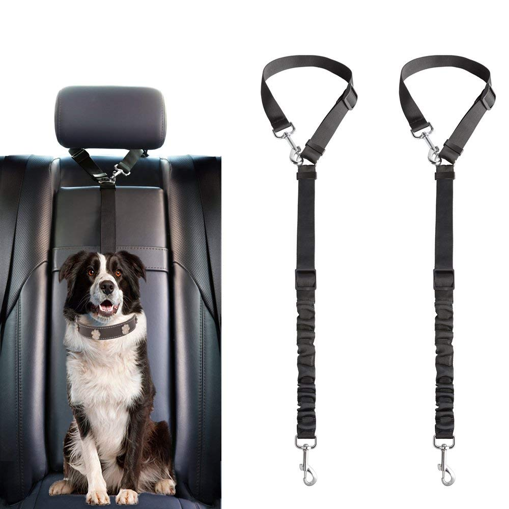 Mkono Dog Seat Belt, 2 Pack Adjustable Durable Headrest Seatbelt Pet Dog Car Safety Harness Restraint with Elastic Nylon Bungee Buffer Vehicles Travel Daily Use, Black