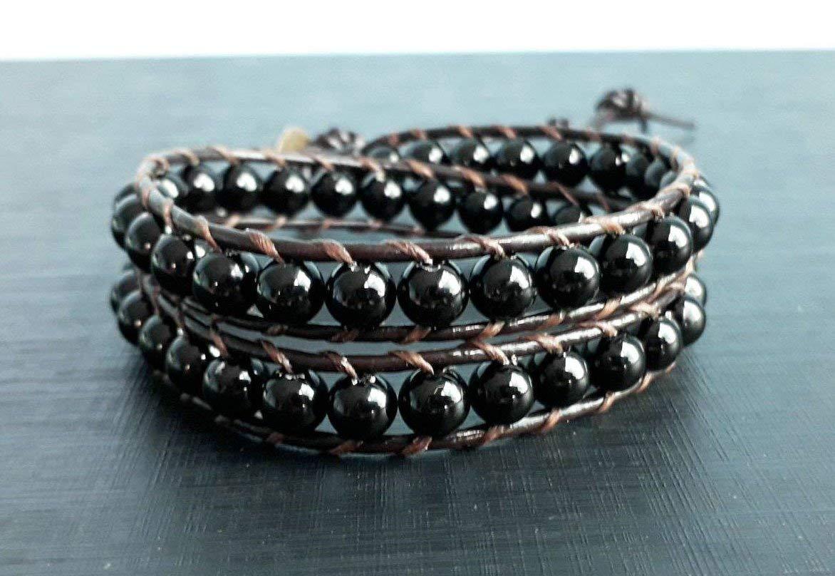 3e2ab93966b5 Get Quotations · Onyx stone leather bracelets,2 wrap bracelets,bracelets  for men and women,gift