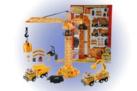 Tethered Toy Remote Control Crane with trucks and accessories