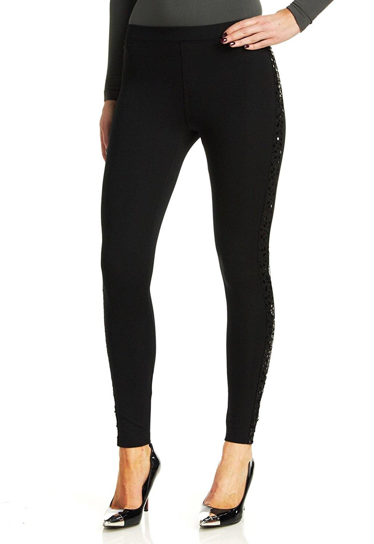 dd0ce99a3b86c Get Quotations · Hue Women's Sequin Tuxedo Ponte Leggings, Black, Large
