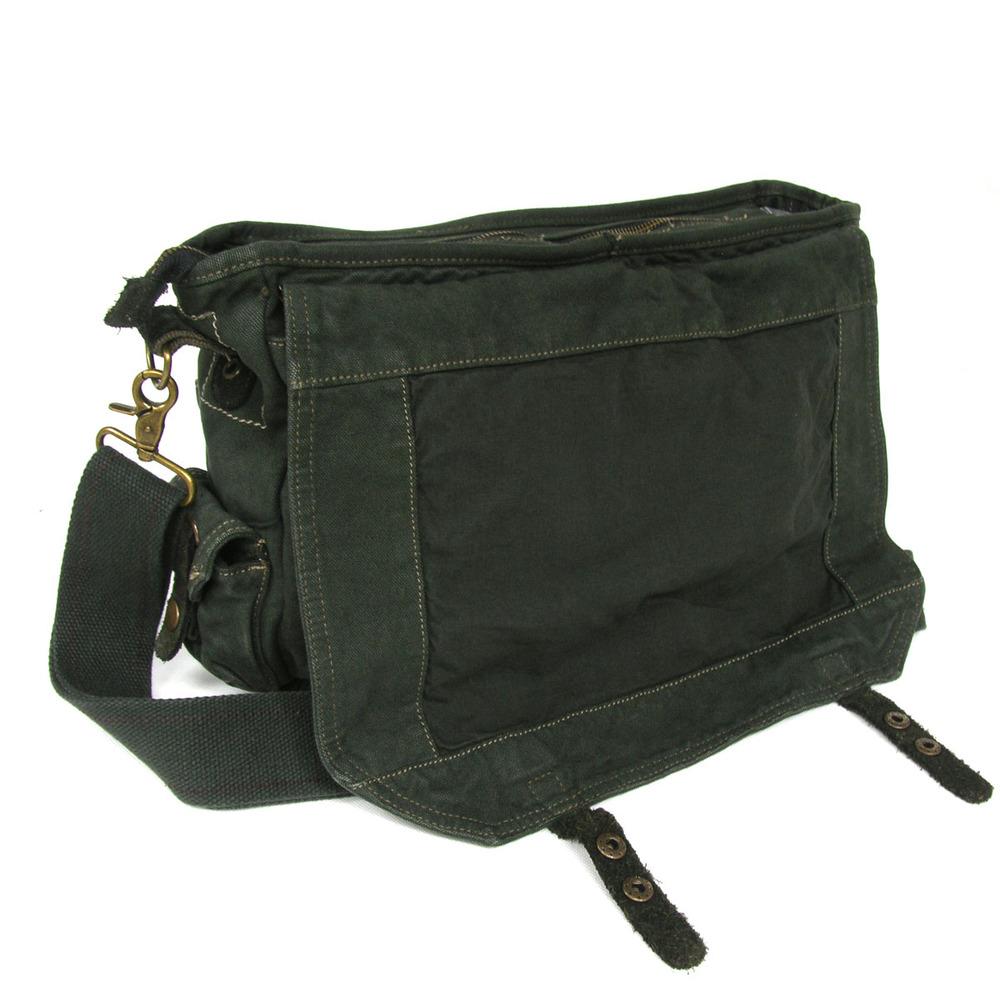 2383 Vintage Rugged Heavy Weight Green Military Canvas Shoulder Bag Bike Canvas  Messenger Bag a3b7a8e6826