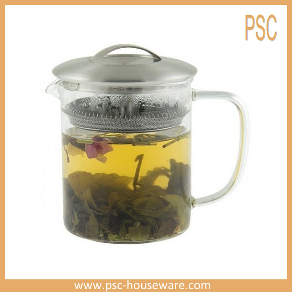 13.5 Ounces Easy Brewing Loose Leaf Glass Teapot With Stainless Steel Lid For Blooming Tea