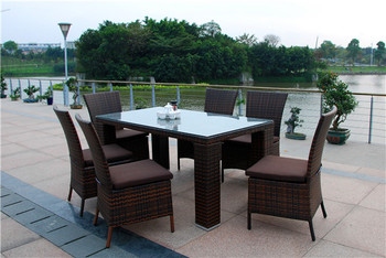 Md 6038 W Outdoor Furniture All Weather Resin Synthetic Rattan Dining Set