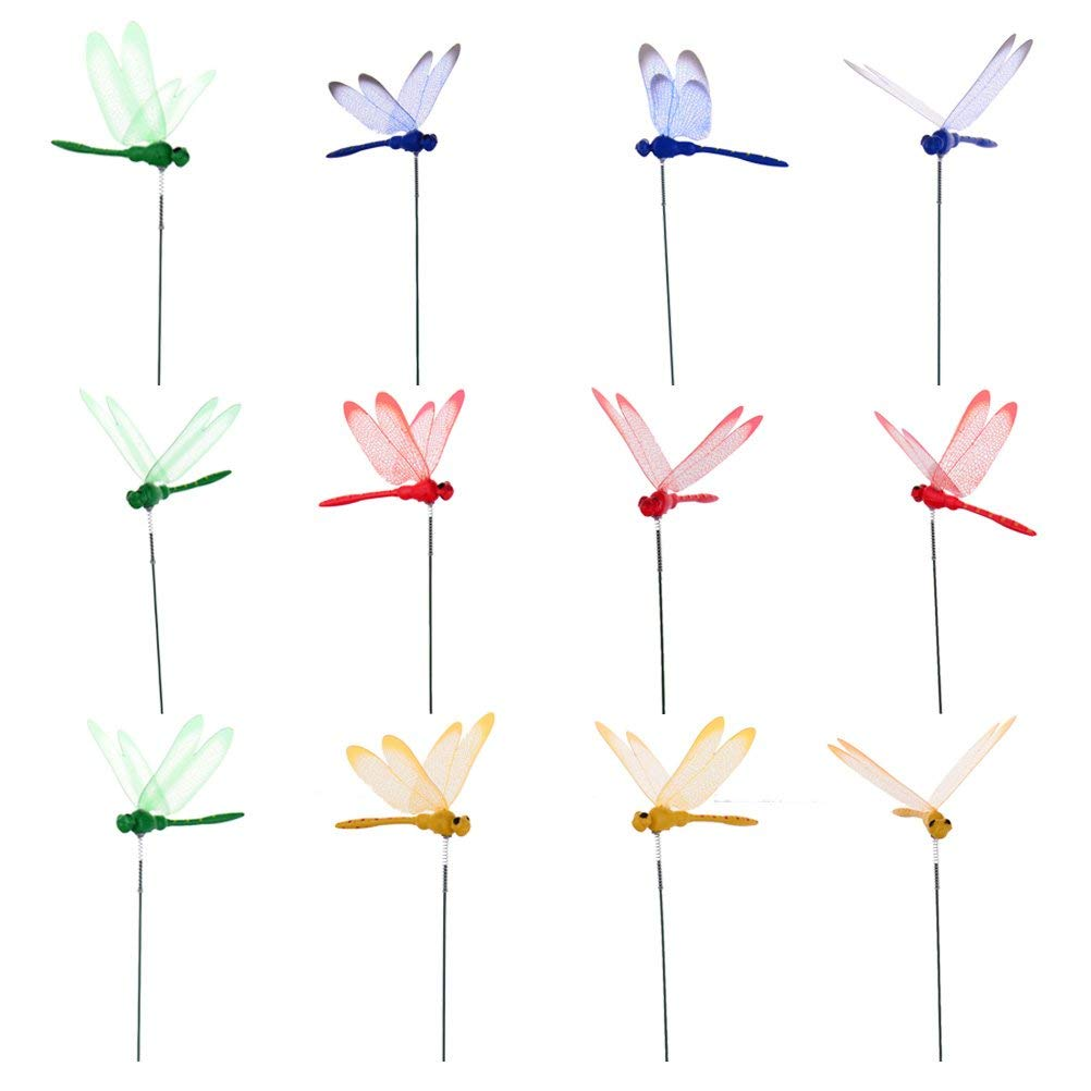 12 Pcs Dragonfly Stakes Dragonflies On Sticks 3D Artificial Dragonfly Patio Garden Decor Yard Planter Colorful Whimsical Dragonfly Ornaments Plant Stems for Flower Pot Dragonfly Party Supplies Crafts