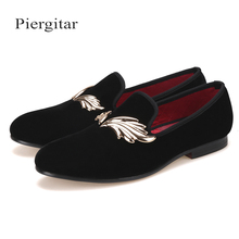 fc639530c12 Add to Favorites · Piergitar New Style Handcraft Men Velvet Slipper With  Gold Leaves Metal Fit Wedding And Prom Loafers Fashion