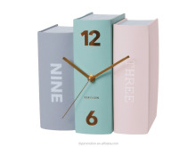 Decorative OEM Colorful book shape cheap table book clock