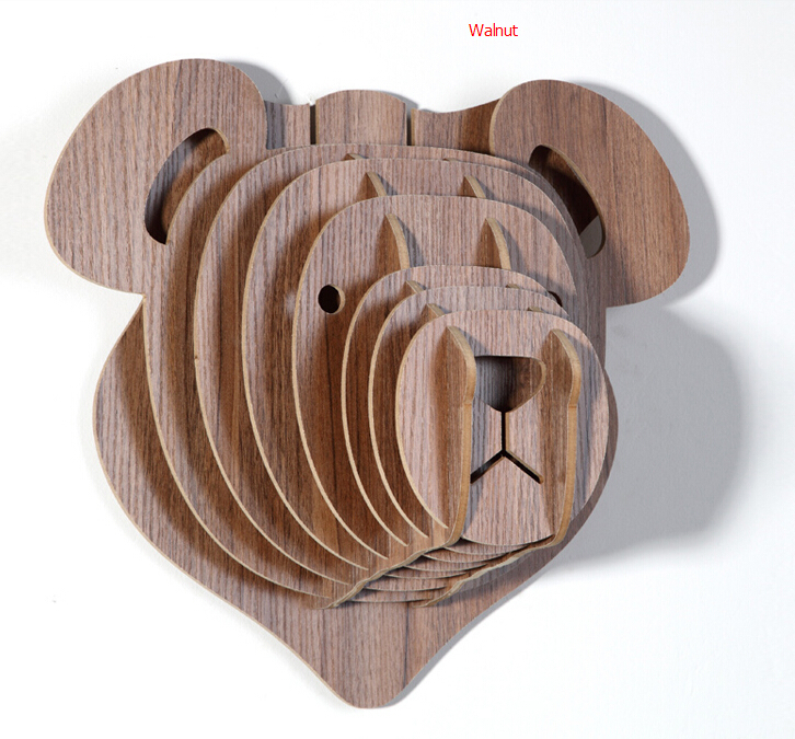 Buy wooden teddy bear head for wall decoration diy crafts for