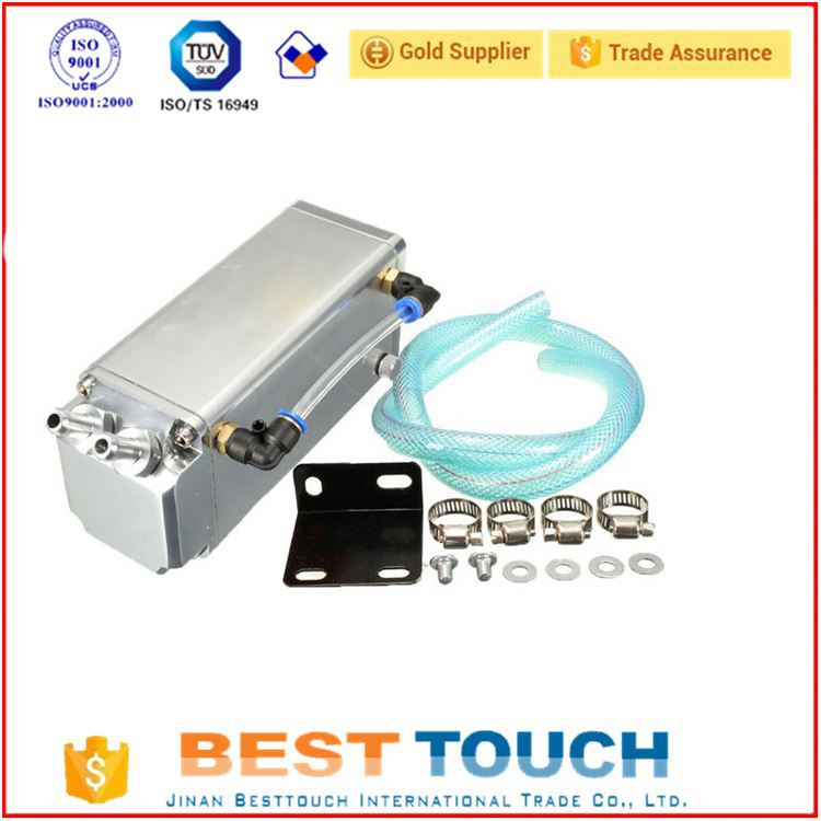 High quality chrome square aluminum oil reservoir catch tan aluminum oil filter baffled for Opel