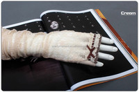Latest High Quality UV Cut Full Long Cotton Gloves Vintage Skin/Cream Color Lace Suncreen Gloves Car Driving Glove In Summer