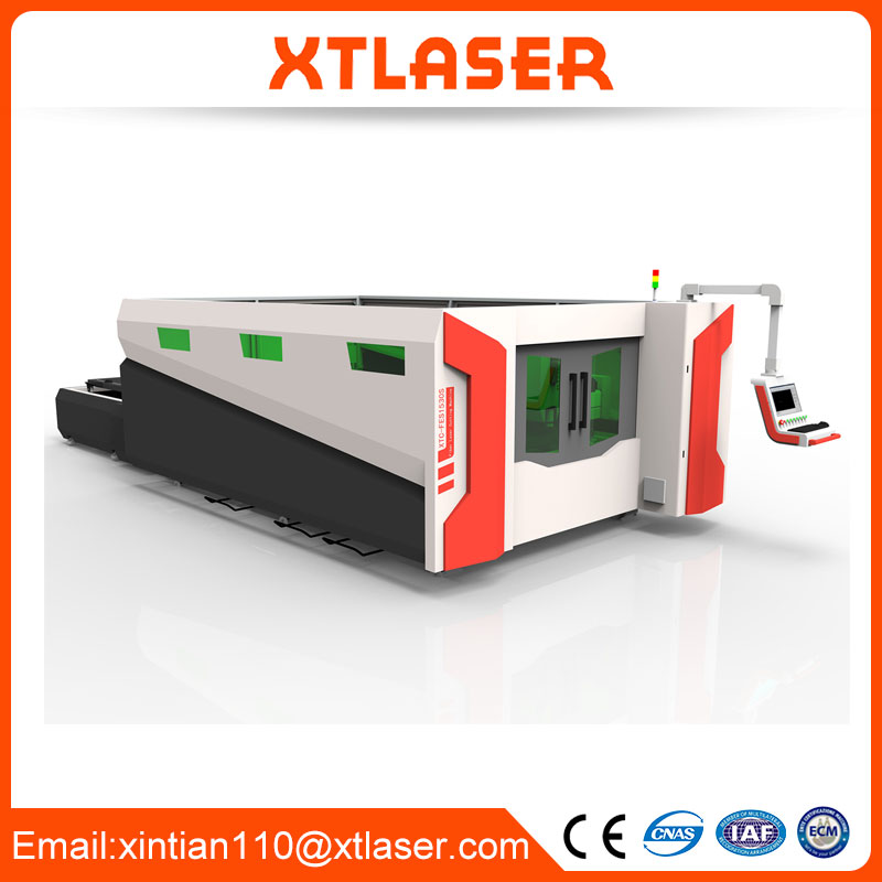 China Supplier iron fiber laser cutting machine with exchange table and protective cover