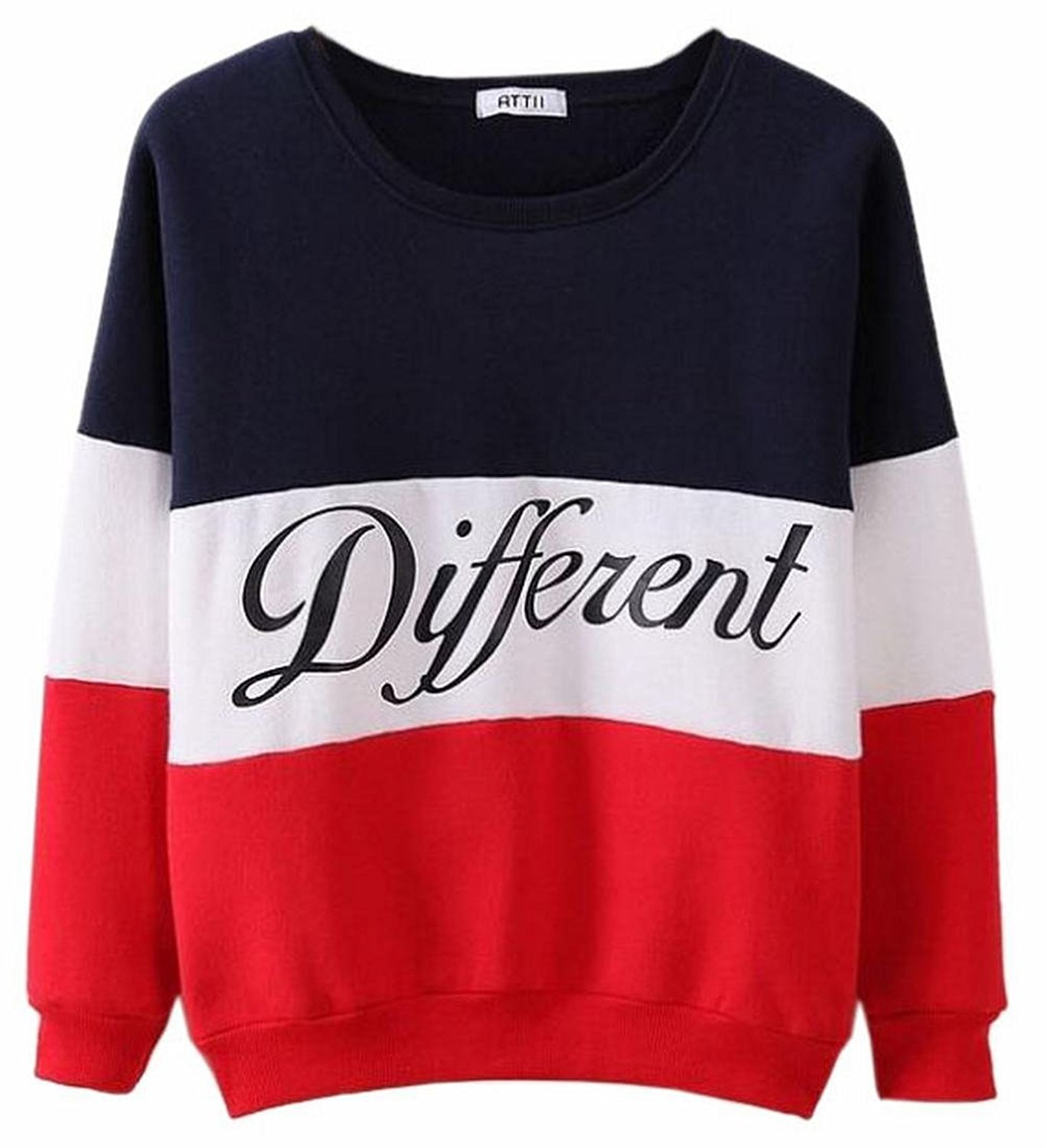 CBTLVSN Women's Letter Print Colorblock Round Neck Pullover Outerwear