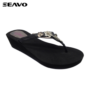 6c2b8518ae120 Eva Wedge Flip Flop Black