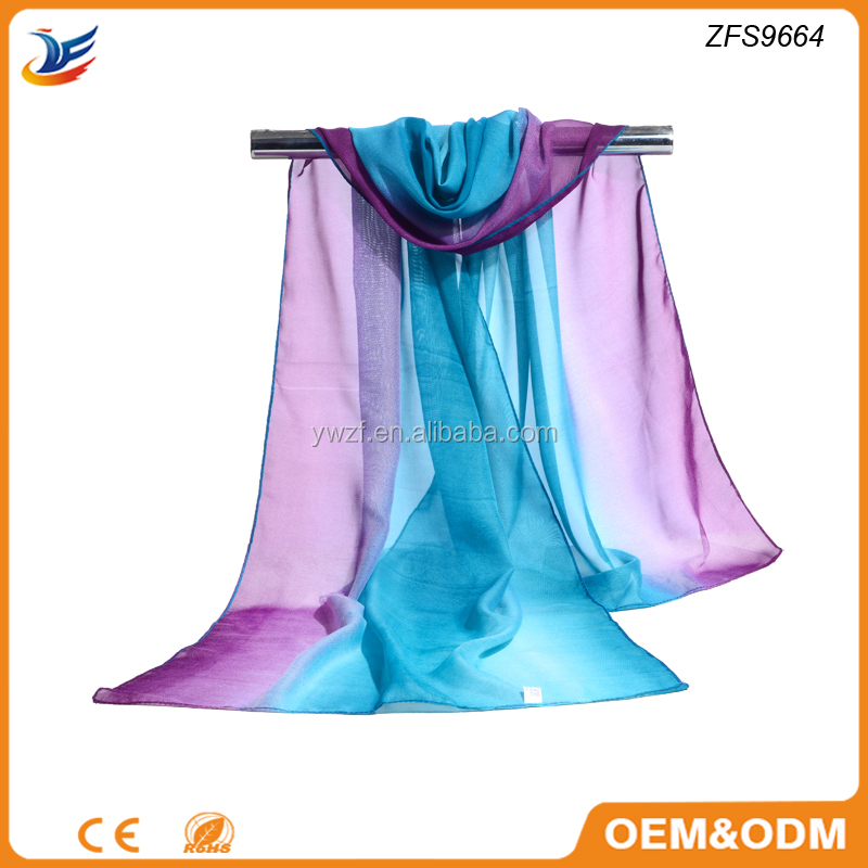 Purple and Blue Joint Color Silk Chiffon Wrap Muffler Ombre Scarf
