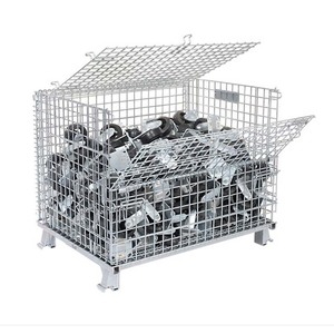 Heavy Duty Warehouse Galvanized Stacking Metal Wire Mesh Pallet Cage Wire Container