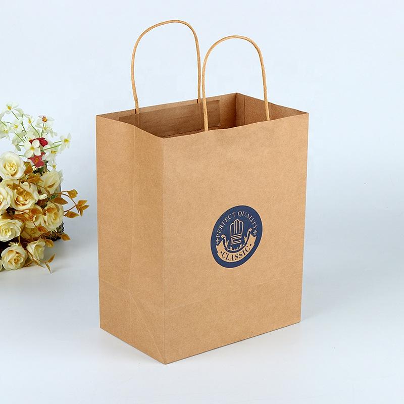 Fornitore della cina Riciclata Marrone Kraft Sacchetto di Carta di Imballaggio di Shopping Per Il Trasporto Sacchetto di Carta Con Logo Personalizzato