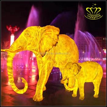 attractive outdoor festive atmosphere light night view decorate fiberglass luminous elephant sculpture - Christmas Elephant Outdoor Decoration