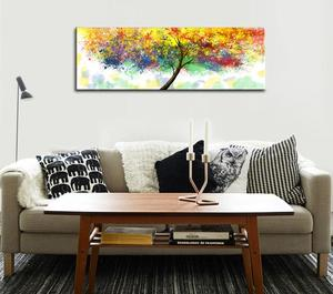 Colorful Tree Canvas Prints for Living Room Modern Framed Abstract Oil Painting