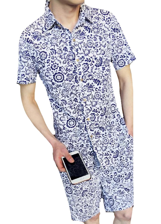 Zimaes-Men Slim Fit Short Sleeve Button Down Stripe Floral Print Shirt