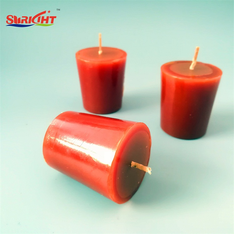 Red Scented Religious Flat Top Votive Candle
