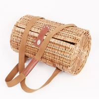China Cheap Round Rattan Wicker Picnic Basket Hamper For 2 Persons