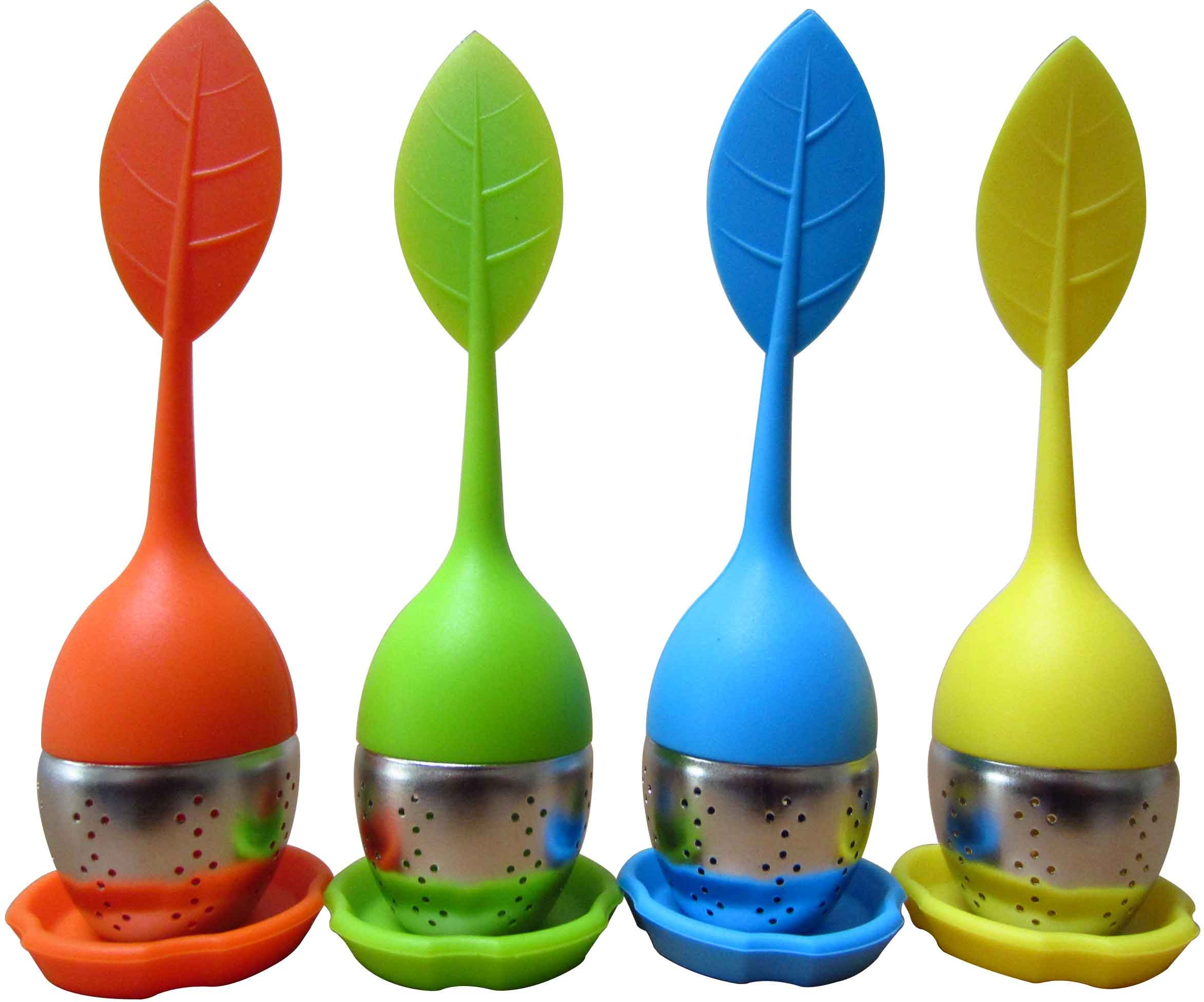 Silicone Loose Tea Infuser - LeBeila Long Leaf Shape Handle 304 Stainless Steel Strainers Reusable Ball Steeper Set Silicon Mat Herbal Teas Leaves Filters Bags For Cup, Teapot, Mug (4pcs, 4Colors)