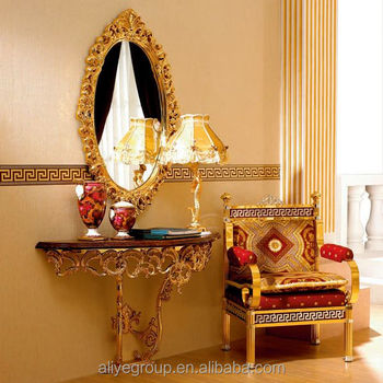 Lastest Italian Style Hallway Wooden And Hand Plated Console Table And  Mirror On Wall K