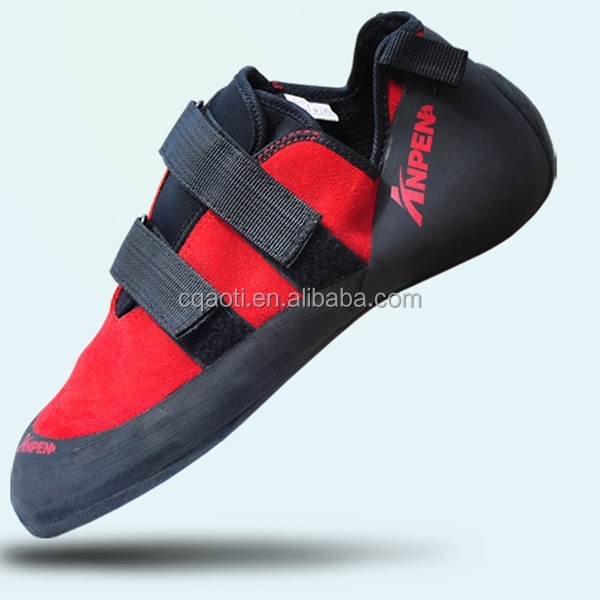 Red Genuine Leather Slip resistant Rock Climbing Boulder Shoes For Adult