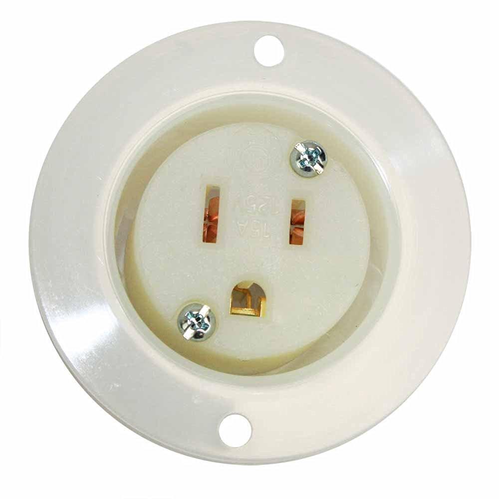 Superior Electric YGF047F Std Receptacle Flange 2-Pole 3-Wire 15A 125V NEMA 5-15R