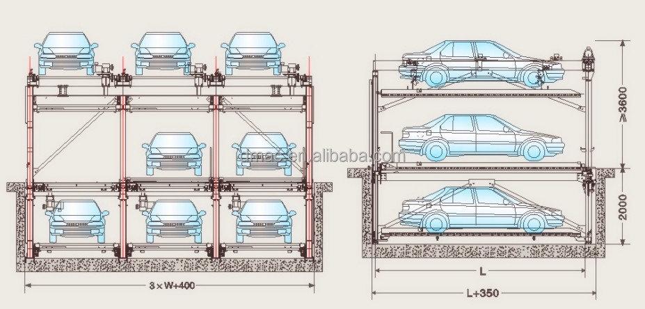 Underground 3 level car lift parking/ residential parking system ...