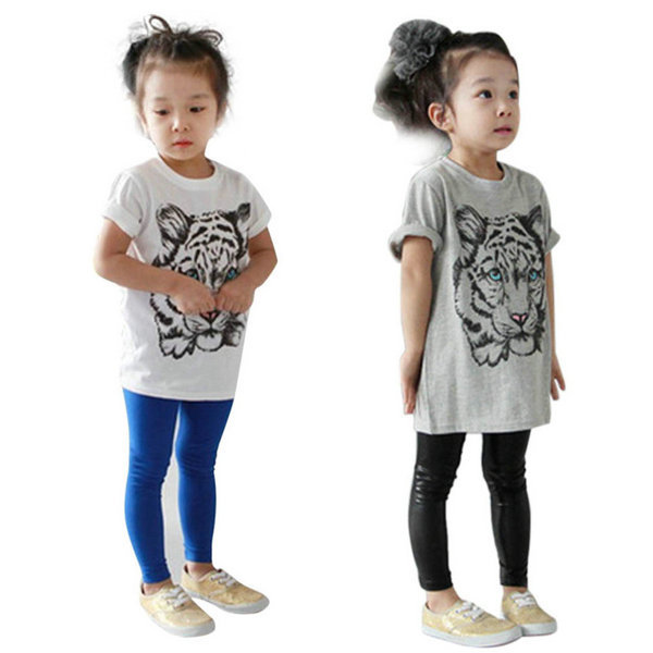 Baby Girls Kids Korean Tiger Printed Casual T shirt Cotton Shirt Clothes