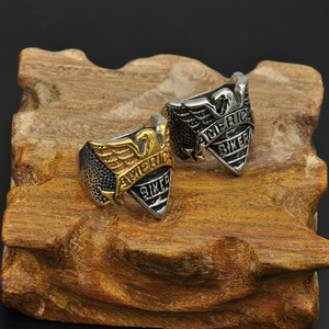 Punk Gothic Two Tone Biker Eagle Stainless Steel Rings for Men