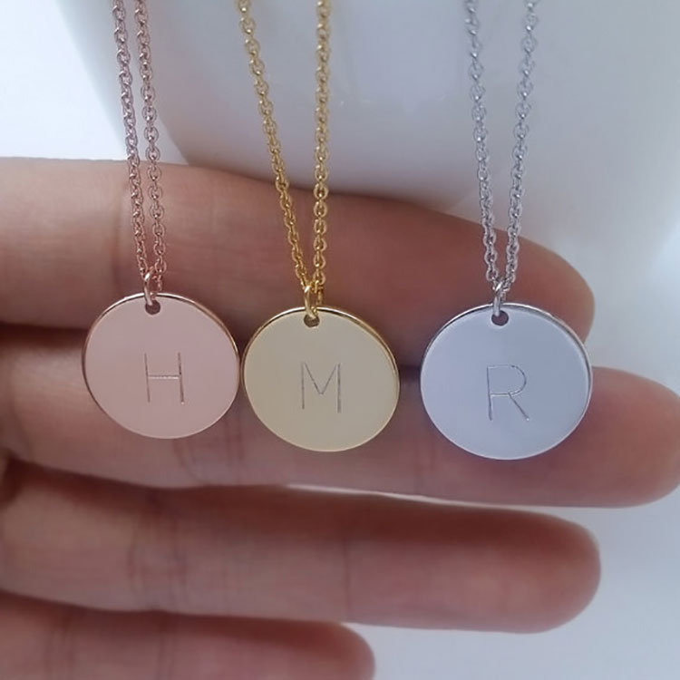 <strong>Fashion</strong> Wholesale Beautiful Rose Gold Coin Round Circle Necklace