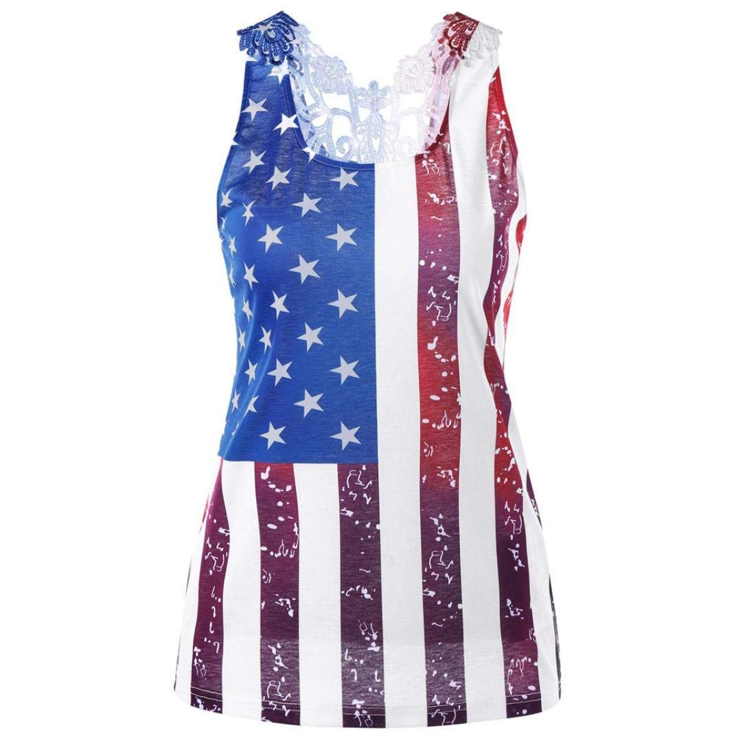 abd097b6fa1ca4 Get Quotations · Vintage USA American Flag Tank Top for Women Juniors July  4th Party Lace Racerback Vest Casual