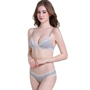 2018 top sale lace cotton sexy wilrless bra set with cheap price good quality