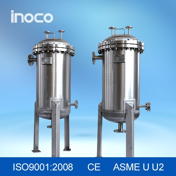 Inoco pleated cartridge filter housing for liquid filtration