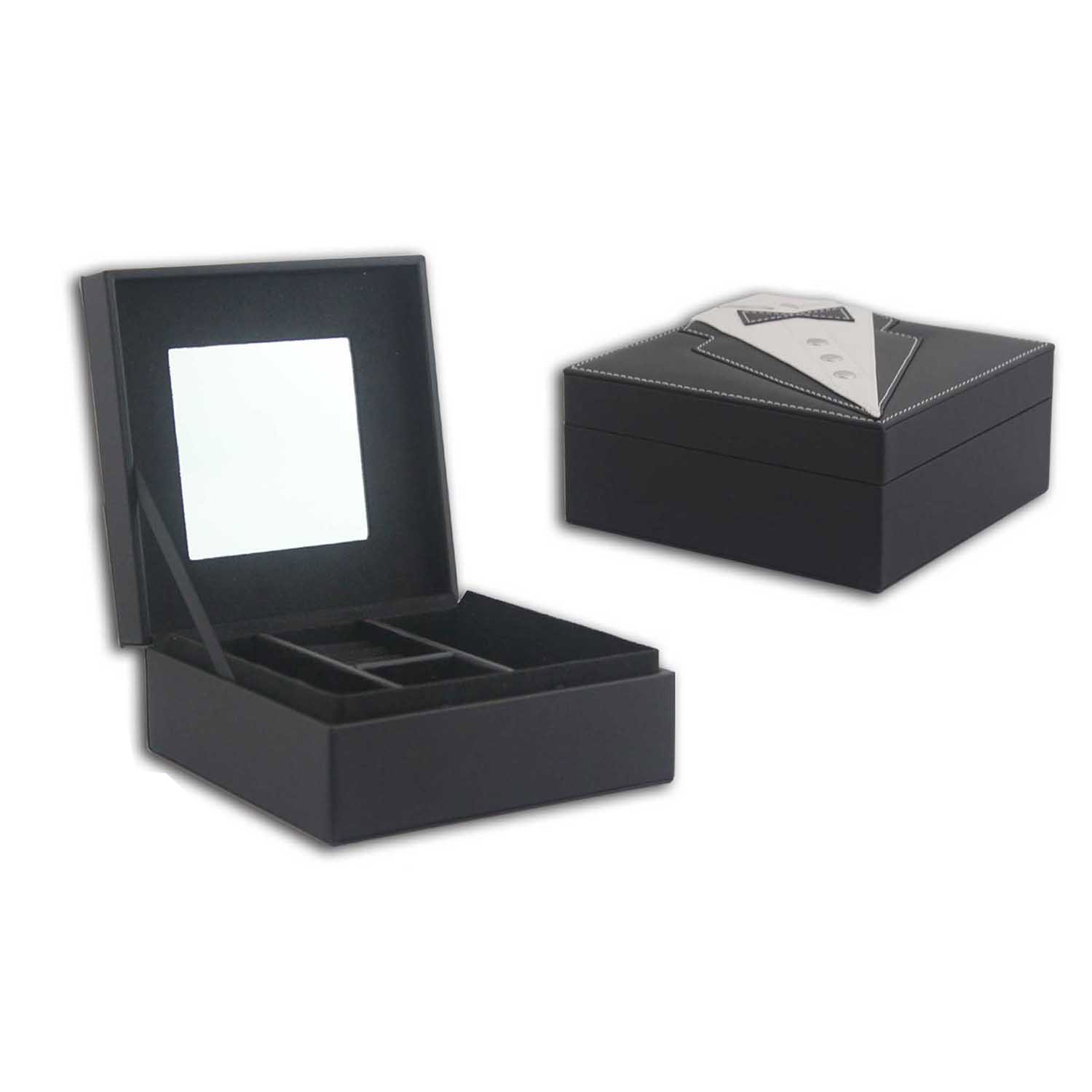 Unique design bow-tie pattern PU jewelry display box