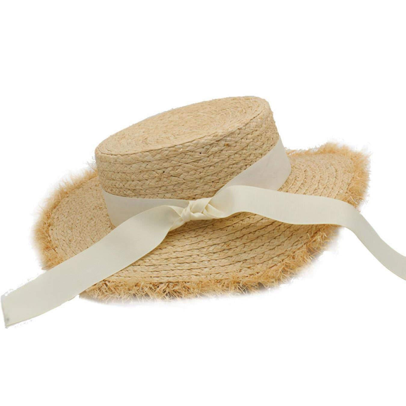 Womens Summer Adult Solid Casual Straw Sun Beach Hat Summer Hats for Women Boater Raffia Hat Bow