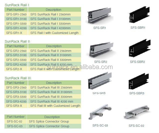 Aluminum Solar Panel Mounting Rail Railing System Pv Mount