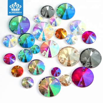 Top quality natural colour flat back glass crystal sew on stones with holes for clothing