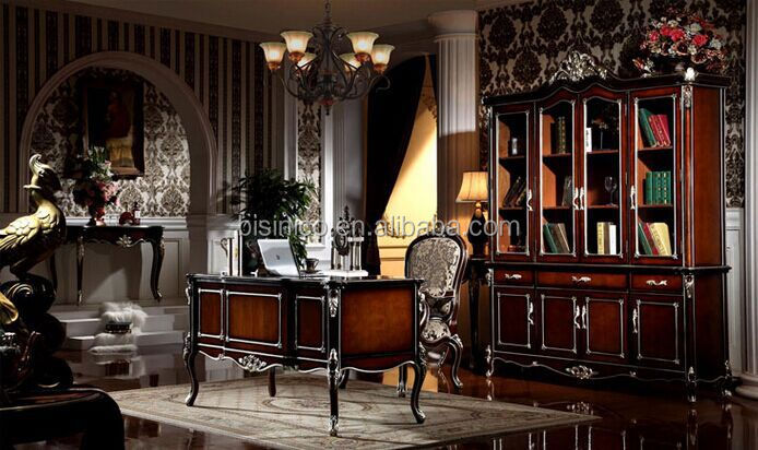 Luxury American Style Office Desk Royal Palace Study Room Furniture Wooden Hand