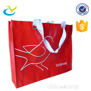 Wholesale China high quality eco-friendly red pp spunbond non-woven laminating market grocery gift trade show shopping bag