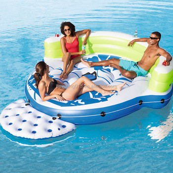 3 person kick back lounge pool float island with pillow backrest