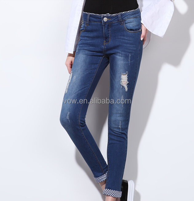 Latest Style Female Damaged Denim Jeans/ Funky Ladies Jeans Top ...