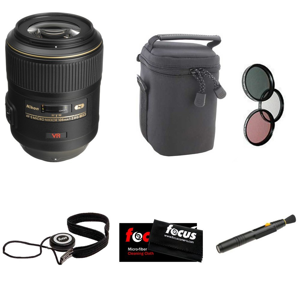 Nikon 105mm f/2.8G ED-IF AF-S VR Micro-Nikkor Lens + Deluxe Accessory Kit