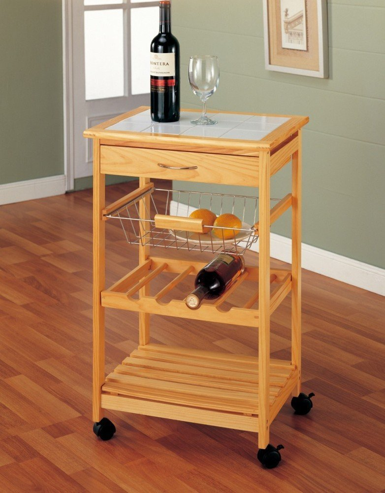 Foldable Kitchen Food Cart Bamboo Kitchen Trolley With Basket And Drawer
