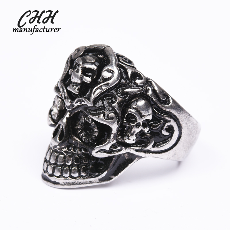 Hot salefashion custom black stainless steel cat eyes skull ring for unisex